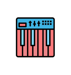 Controller hardware keyboard midi music flat vector