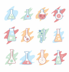 Corona virus vaccine research flask icons set vector