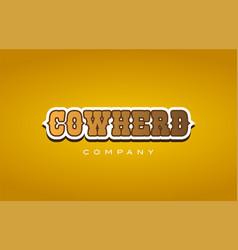 Cowherd cow herd western style word text logo vector