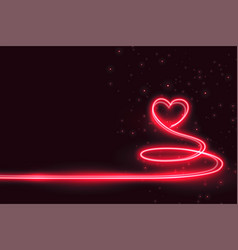 creative heart made in neon light background vector image
