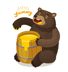 Cute bear eats honey from wooden barrel cartoon vector
