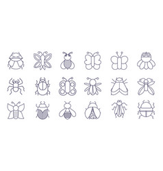 Cute insects animals small fauna in thin line vector