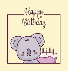Cute koala happy birthday card vector