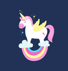 cute magical unicorn on rainbow in pastel colours vector image
