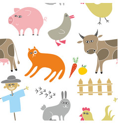 Decorative seamless pattern with animals from the vector