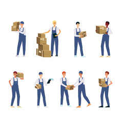 delivery men or couriers set flat vector image