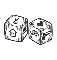 Dice with different symbols engraving vector