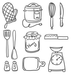 Doodle of kitchen set style hand draw vector