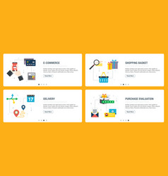 E-commerce shopping basket delivery and vector