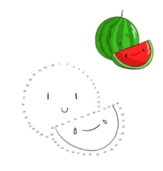 Educational game connect dots draw watermelon vector