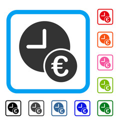 Euro recurring payments framed icon vector