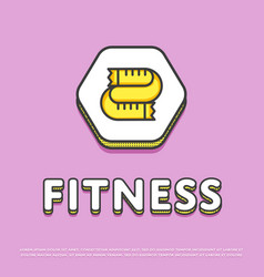 Fitness colour icon with measuring tape vector