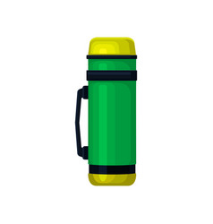 Flat icon of aluminum green-yellow thermos vector