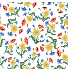 floral embroidery seamless pattern with colorful vector image