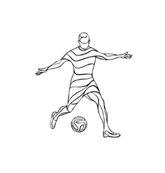 Football or soccer player silhouette with ball vector image