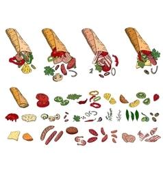 Fresh ingredients - vegetables cheese mushrooms vector