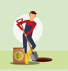 Gardener digging hole with shovel gardening image vector