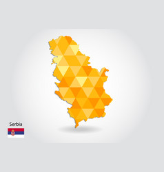geometric polygonal style map of serbia low poly vector image