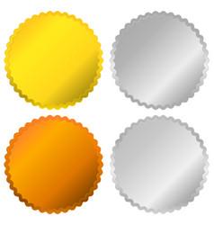 Gold silver bronze and platinum badges seals vector
