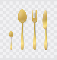 Golden cutlery set silver fork spoon and knife vector