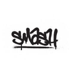 Graffiti smash word sprayed in black over white vector