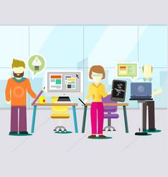 Graphic designer and computer development vector