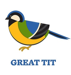 Grea Blue Tit Line Flat Icon vector