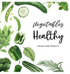 Green vegetables watercolor organic frame vector