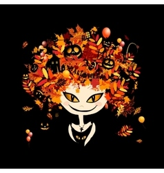 Halloween holiday design female head vector image