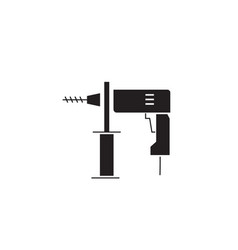 hammer drill black concept icon hammer vector image