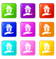 hand holding house set 9 vector image