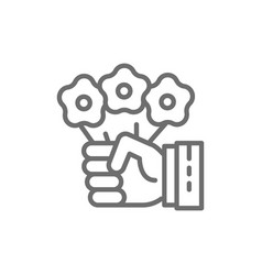 hand holds flowers magic trick with floral vector image