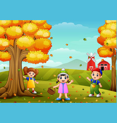 happy children playing with wooden basket in farm vector image