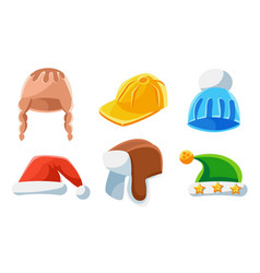 Headwear collection different kind hats vector