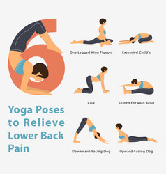Infographic yoga poses to relieve lower back pain vector