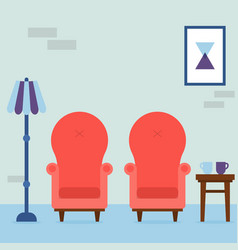 Interior living room vintage cozy red armchairs vector