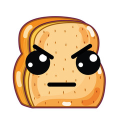 Kawaii cute angry chopped bread vector