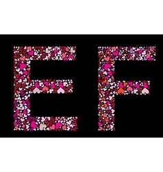 Letter e f valentine alphabet vector
