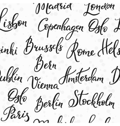 Lettering seamless pattern europe capitals vector image