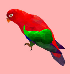 Low poly colorful parrot bird on pink back ground vector