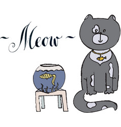 meow gray cat with gold fish vector image