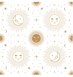 Moon sun and stars seamless ornamental pattern vector