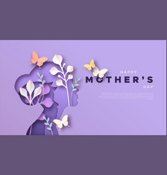 mothers day mom and kid papercut card template vector image