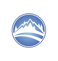 Mountain icon round logo vector