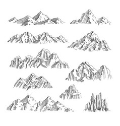 Mountains sketch outdoor wild nature rocks and vector