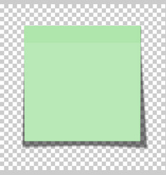 Office green paper sticky note glued vector