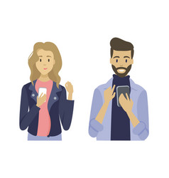 people holding phone using gadget app vector image