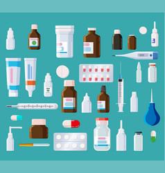 Pharmacy medical set bottles blisters syringe vector