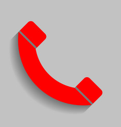 phone sign red icon with vector image