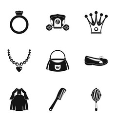 Princess things icon set simple style vector